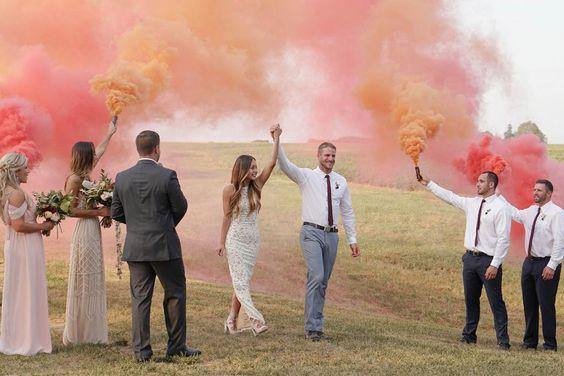 pasillo de humo de colores