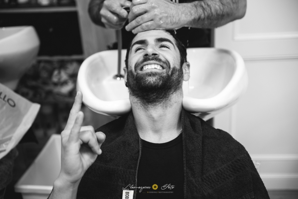 novio en la peluquería